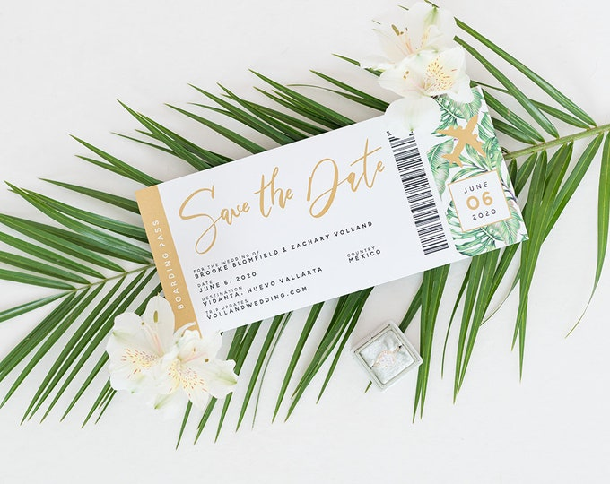 Travel Boarding Pass Save the Date for Destination Wedding with Tropical Palm Tree Leaves in Green and Gold with Perforated Side, Addressing