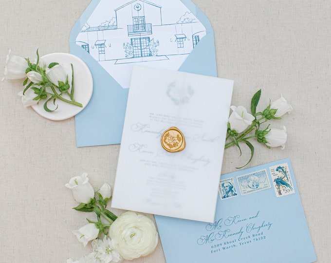 Wedding Venue Custom Sketch Illustration Invitation with Vellum Wrap in Pale Blue with Gold Wax Seal and Monogram - Other Colors Available!