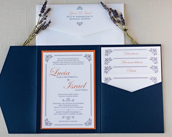 Navy Blue Formal Traditional Classic Pocket Wedding Invitation with Inserts, RSVP, Envelope Liner and Return Address Printing - Other Colors