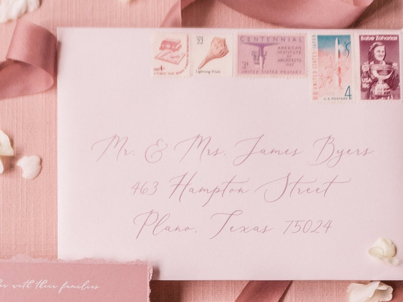 Other Colors Floral Vellum Wrap Wedding Invitation on Dusty Rose White Ink Calligraphy with Torn Edges and Wax Seal