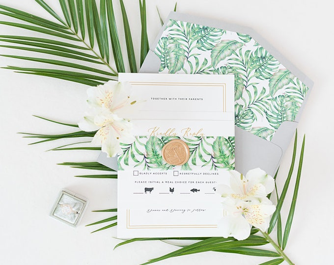 Formal, Tropical Beach Wedding Invitation Featuring Palm Tree Leaves, Gold Wax Seal on Vellum Belly Band & Guest Printing - Other Colors