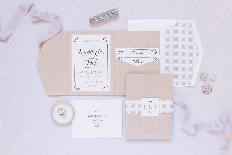 5x7 Metallic Beige and Silver Pocket Wedding Invitation with ...