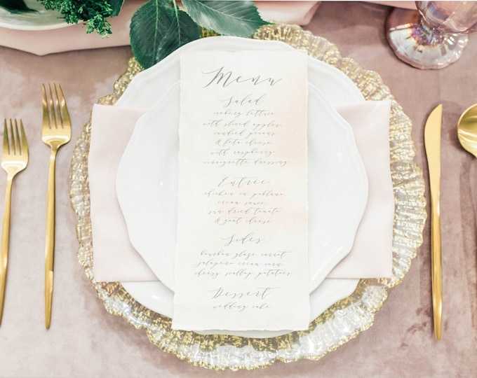 Grey, Blush & Ivory Deckled Edge Calligraphy Modern Printed Wedding Menu with Torn Edges