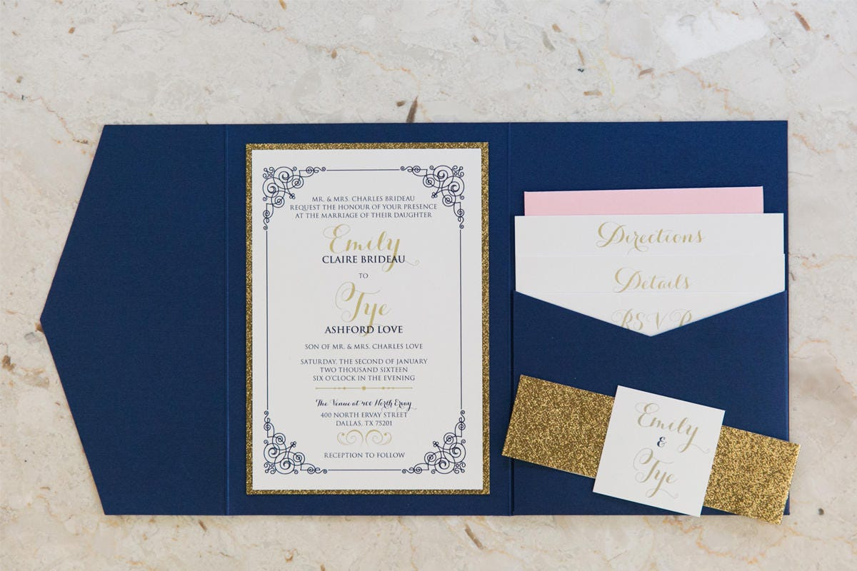 Gallery Photo: Blue And Gold Wedding Invitations At Websimilar.org