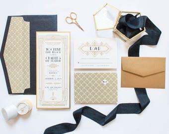SAMPLE Art Deco Gatsby Themed Gold and Black Wedding Invitation, Envelope & RSVP
