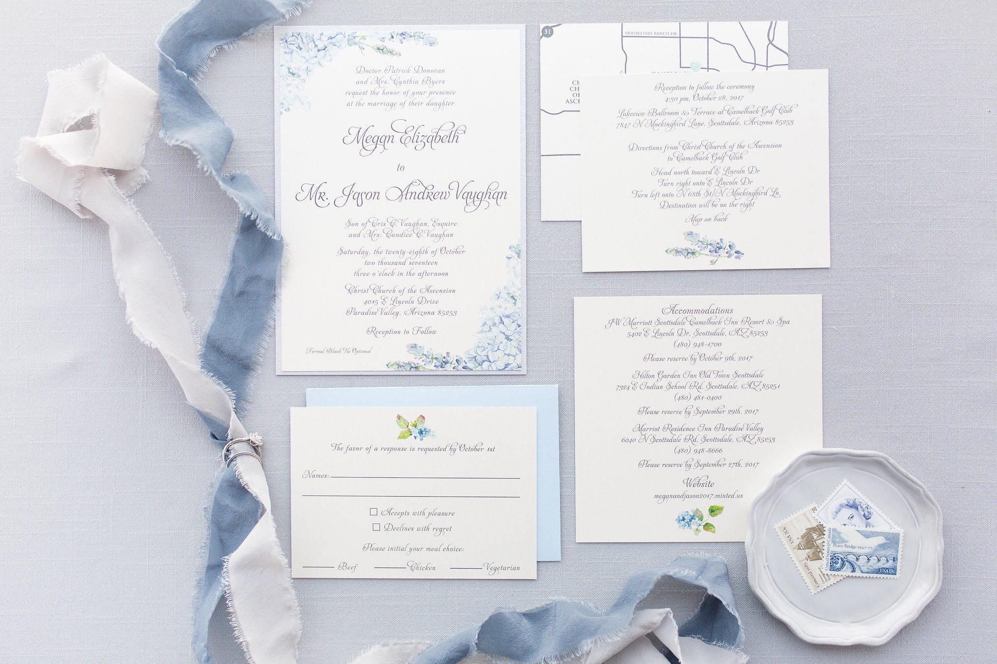 Formal Elegant Grey Silver Light Blue Hydrangea Wedding