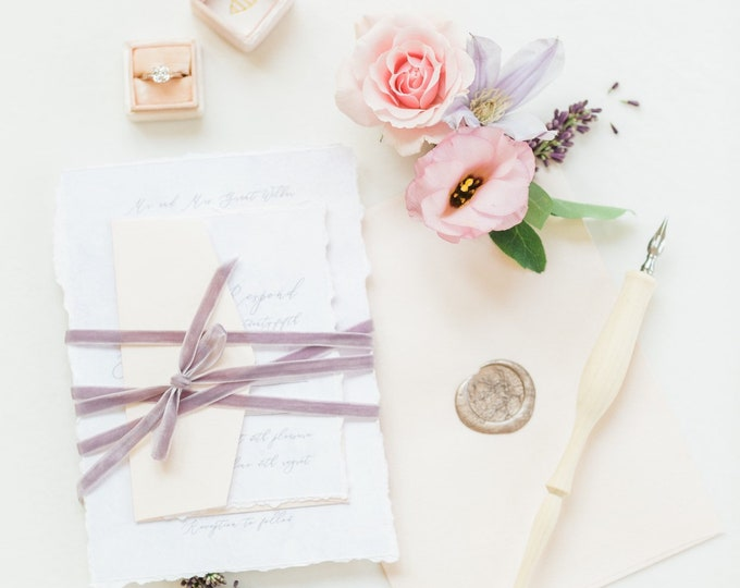 Torn Edges, Blush Pink & Lavender Watercolor Wedding Invitation with Delicate Calligraphy and Wax Seal — Envelope Liner, RSVP and Addressing