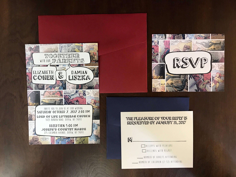 CUSTOM ORDER 5x7 Comic Book Nerd Geek Wedding Invitation and RSVP ...