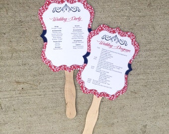 Coral and Navy Blue Vintage and Floral 5x7 Die Cut Wedding Ceremony Program Fans