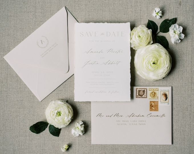 Modern + Simple Save the Date with Monogram Wreath and Deckled Edges in Taupe, Beige and Ivory with Envelope and Addressing —Other Colors!