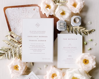 Monogram Wedding Invitation, Letterpress in Sepia and Sienna Brown Tones with Delicate Floral Envelope Liner & Belly Band — Different Colors