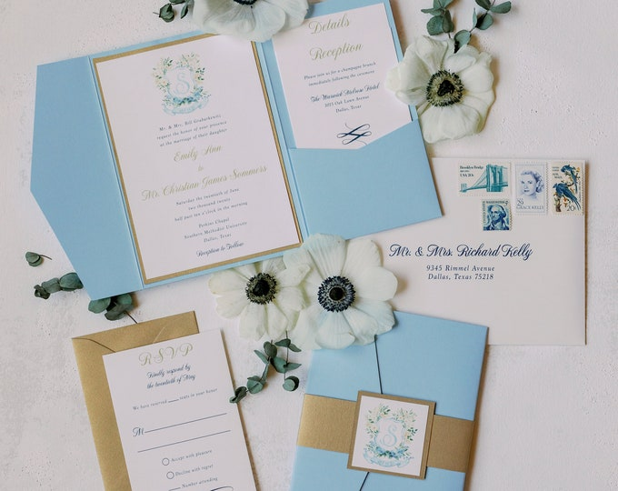 Blue Pocket Wedding Invitation with Gold Belly Band Featuring Water Color Floral Monogram Crest with Inserts & Addressing —Other Colors