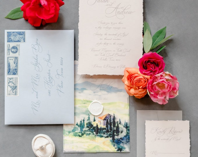 Tuscan Water Color Scene on Vellum Jacket Wedding Invitation with Deckled Edges and Modern Calligraphy with Wax Seal - Other Colors