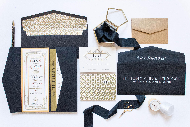 4x9 OR 5x7 Pocket Art Deco Great Gatsby Themed Gold and Black Wedding  Invitation, Envelope, Details & RSVP
