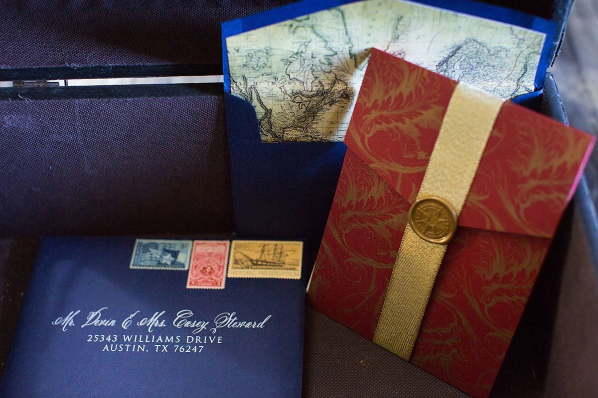 5x7 Elegant Formal Navy Blue, Gold and Red Pocket Wedding Invitation ...