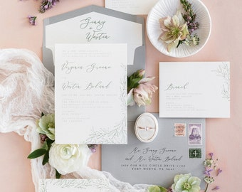 Line Drawn Greenery Leaves Wedding Invitation with Modern Calligraphy in Grey Envelope Liner, Guest Addressing - Other Colors Available