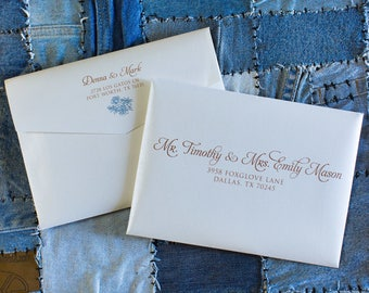 Copper, Blue Turquoise, Rose Gold Ink Wedding Calligraphy Address Envelope Printing, ENVELOPES INCLUDED, Other Colors and Sizes Available