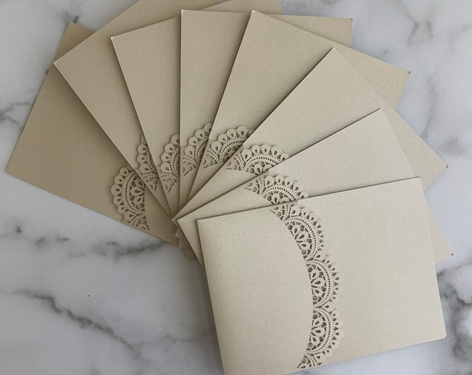 5x7 Neutral Taupe Metallic Doily Laser Panel Pocket for Wedding Invitations in Beige