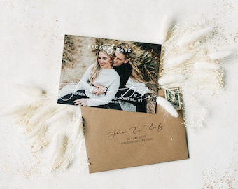 Modern Photo Wedding Save the Date in Taupe and Brown with Envelope and Guest Addressing —Different Colors Available!