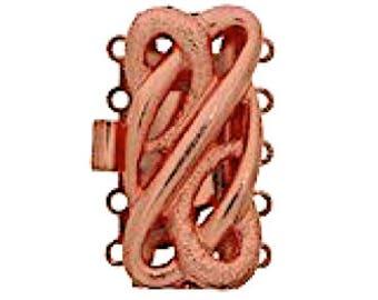 Five-Strand Open-Work Cuff Bracelet Clasp in Bright Copper Finish, 25x12mm