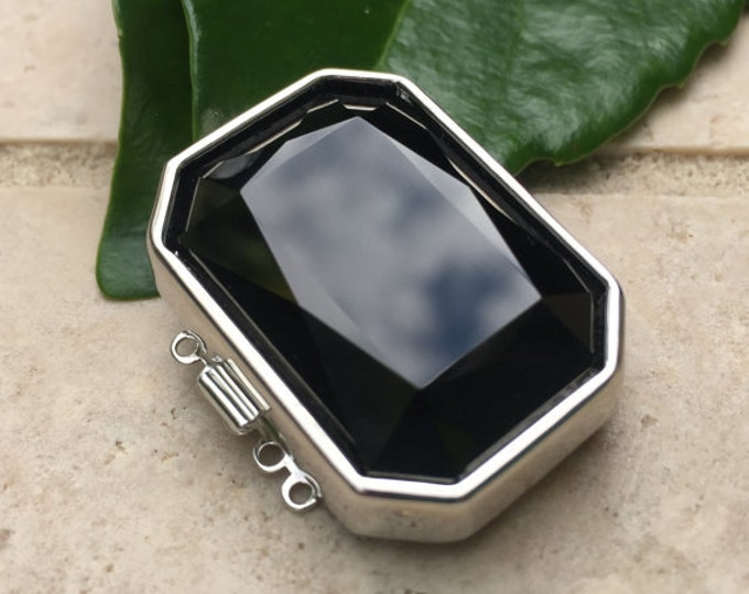 Five-Strand Jet Swarovski Crystal Octagonal Clasp in Rhodium Finish, 30x22mm
