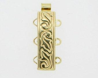 Leaf-Patterned Three-Strand Slider Bracelet Clasp in Sterling Silver or Light Gold, 18x6mm