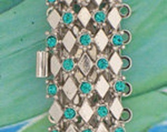 Five-Strand Harlequin Pattern Clasp with Blue Zircon Swarovski Crystals in Rhodium Finish, 27x13mm