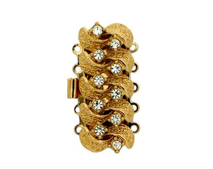 Five-Strand Textured Ribbon Bracelet Clasp with Swarovski Crystals in Gold or Rhodium, 28x13mm