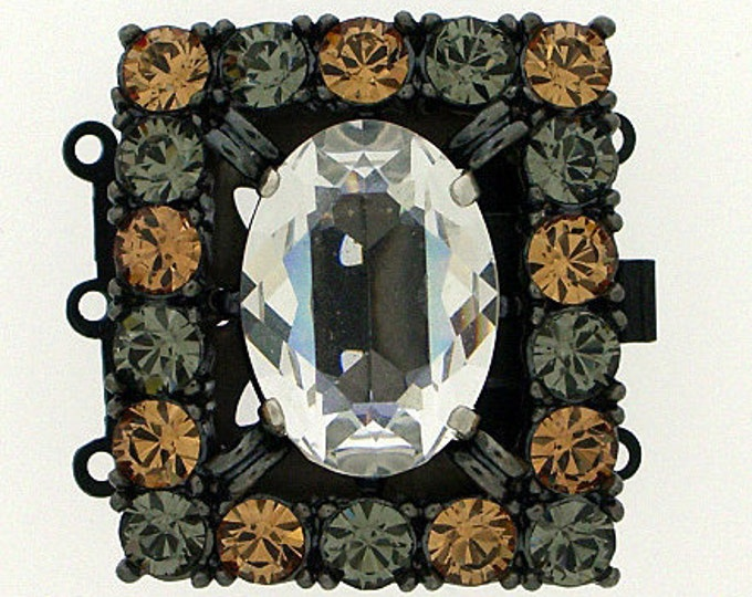 Three-Strand Swarovski Crystal Clasp with Light Colorado Topaz and Black Diamond Border in Ruthenium Finish, 30x26mm