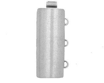 Three-Strand Sterling Silver or Light Gold Convex Slider Clasp, Satin Finish, 20x8mm