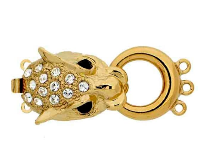 Three-Strand Single Leopard (Panther) Head Clasp in Gold or Rhodium with Swarovski Crystals, 32x15mm