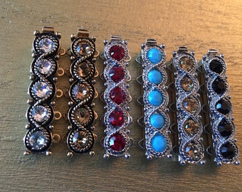 Choose Your Crystal (Seventeen Colors) Five-Strand Slider Bracelet Clasp in Rhodium or Antique Gold Finish, 32.5x7mm