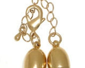 Lobster Clasp Bullet-Shaped End Cap for Kumihimo or Leather in Rhodium or Gold Finish + Chain Extender,  Inside Diameter 8mm