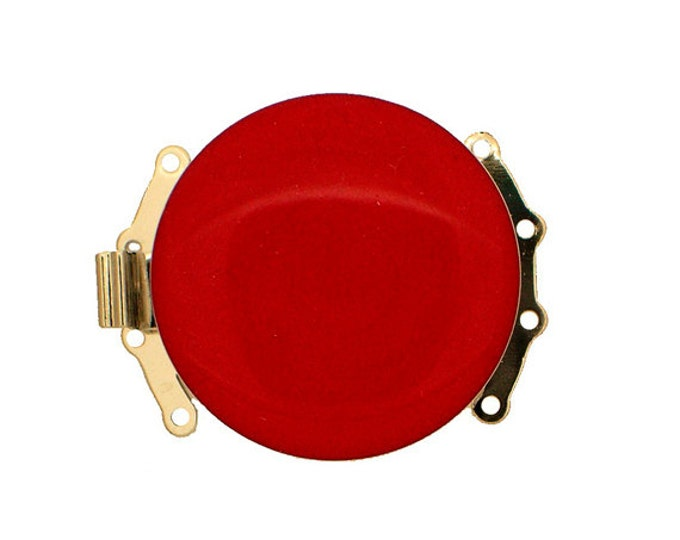 Four-Strand Round Enamel Box Clasp in Red with Rhodium Finish, 25mm