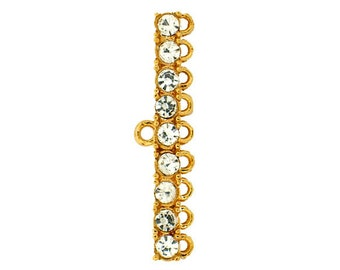 9:1 Strand Reducer in Rhodium and Gold with Swarovski Crystals, 30x3mm