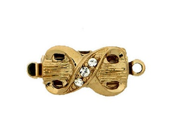 One-Strand Infinity Shaped Box Clasp in Rhodium or Gold Finish with Swarovski Crystals, 13x8mm