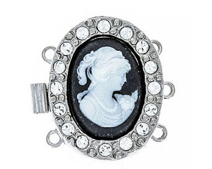 Three-Strand Oval Cameo Clasp in Two Colors, 15x20mm