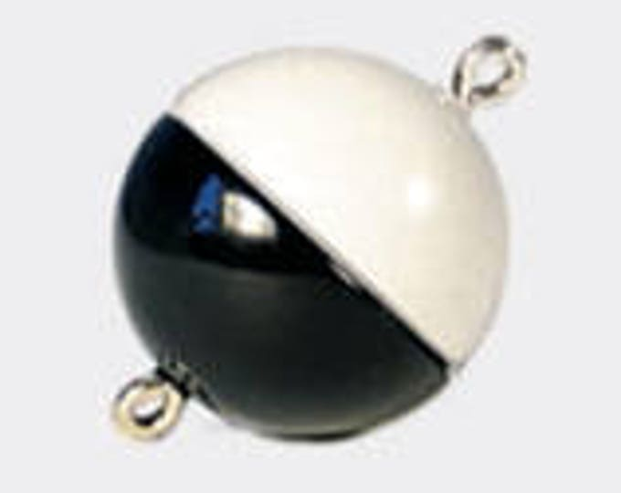 Black and White Color-Blocked Magnetic Clasps in Three Sizes - 8mm, 10mm, and 12mm