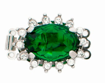 Three-Strand Swarovski Crystal Oval Clasps in Four Jewel-Tone Crystals in Several Finishes, 21x16mm