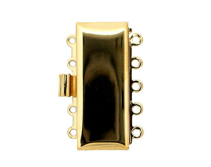 Five-Strand Rectangular Clasp in Gleaming Gold and Rhodium Finishes, 25x10mm