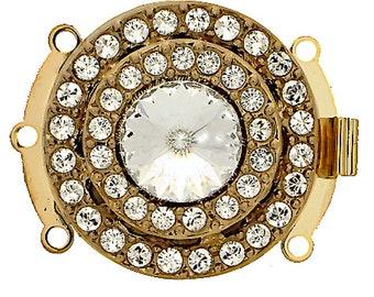 Three-Strand Round Box Clasp with Swarovski Crystals in Gold Finish, 25mm