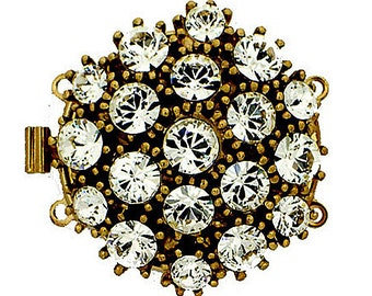 Two-Strand Round Box Clasp with Swarovski Crystals in Rhodium or Gold Finish, 26mm