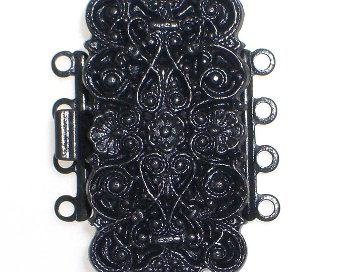 Four-Strand Ornate, Baroque-Patterned Rectangular Box Clasp in Black Copper Finish, 29x14mm