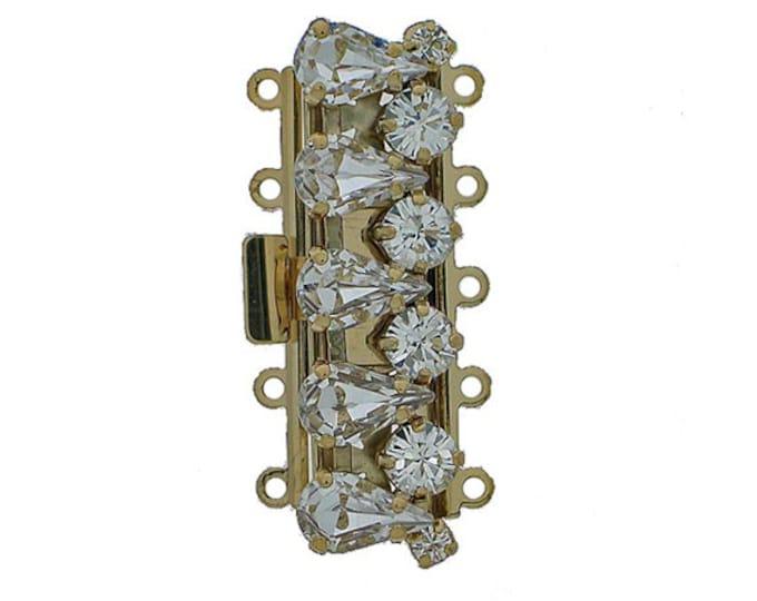 Five-Strand Modern Gold Cuff Bracelet Box Clasp with Swarovski Crystals, 40x18mm
