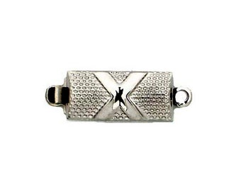 One-Strand Box Clasp in Textured Gold or Rhodium, Perfect for Weddings, 12x6mm