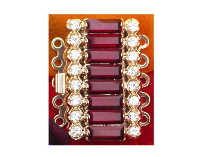 Five-Strand Swarovski Crystal Box Clasp in Three Jewel Tones, Gold Setting, 27x15mm