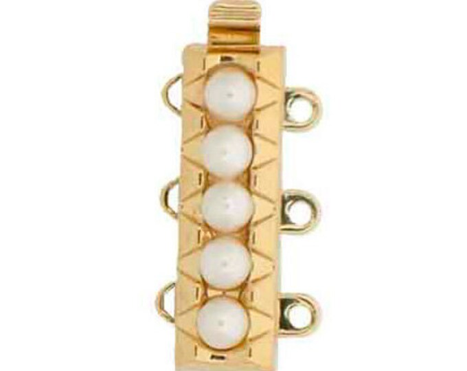 Three-Strand  Slider Bracelet Clasp with Pearls in Gold or Rhodium Finish, 18.5x6mm