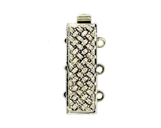 Three-Strand Basket Weave-Patterned Slider Clasp in Gold or Rhodium Finish, 21x7mm