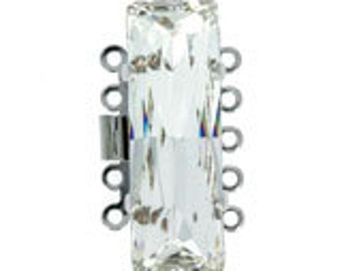 Medium Five-Strand Swarovski Crystal Baguette Box Clasp in Gold or Rhodium Finish, 24x8mm