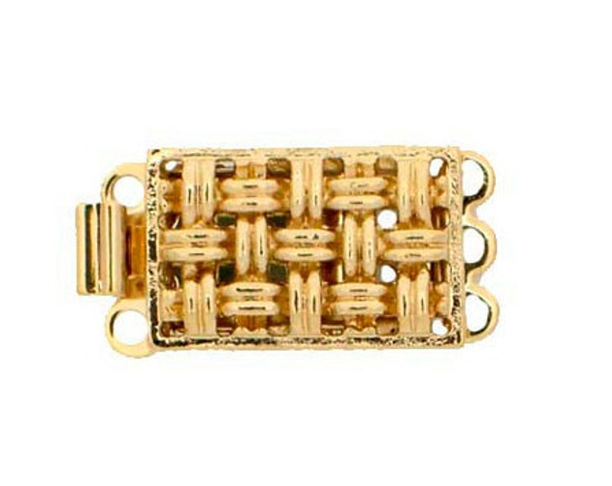 Three-Strand Basket Weave Clasp in Gold or Silver Finish, 9x14mm